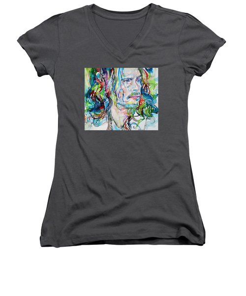 Steven Tyler - Watercolor Portrait Women's V-Neck T-Shirt