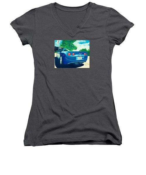 Steve's Corvette Women's V-Neck T-Shirt
