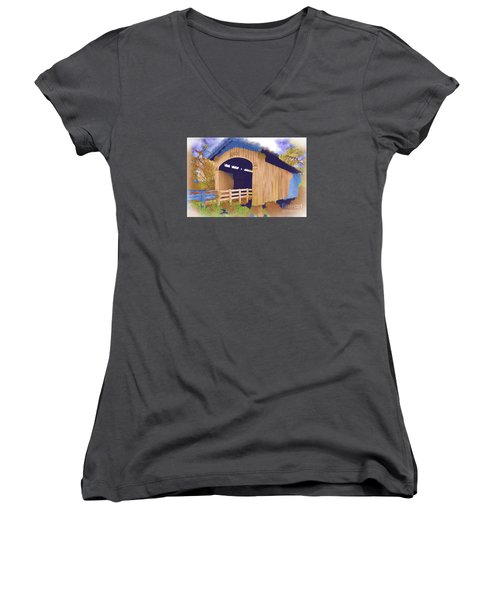 Women's V-Neck T-Shirt (Junior Cut) featuring the digital art Stewart Bridge In Watercolor by Kirt Tisdale