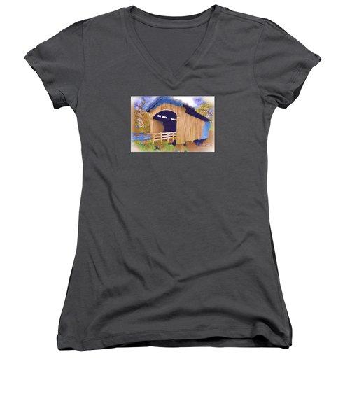 Stewart Bridge In Watercolor Women's V-Neck T-Shirt