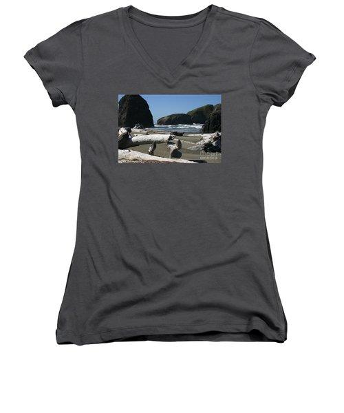Sticks And Stones Women's V-Neck T-Shirt (Junior Cut) by Marie Neder