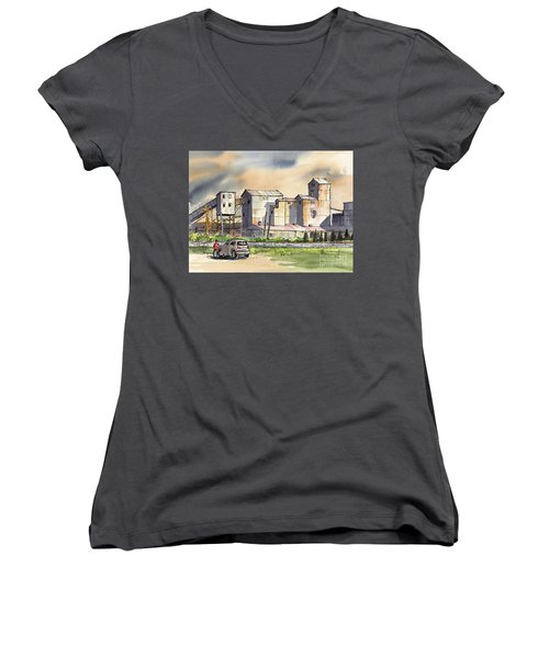 Women's V-Neck T-Shirt (Junior Cut) featuring the painting Still In Business by Terry Banderas