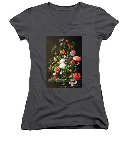 Still Life Of Flowers Women's V-Neck T-Shirt (Junior Cut) by Jan Davidsz de Heem
