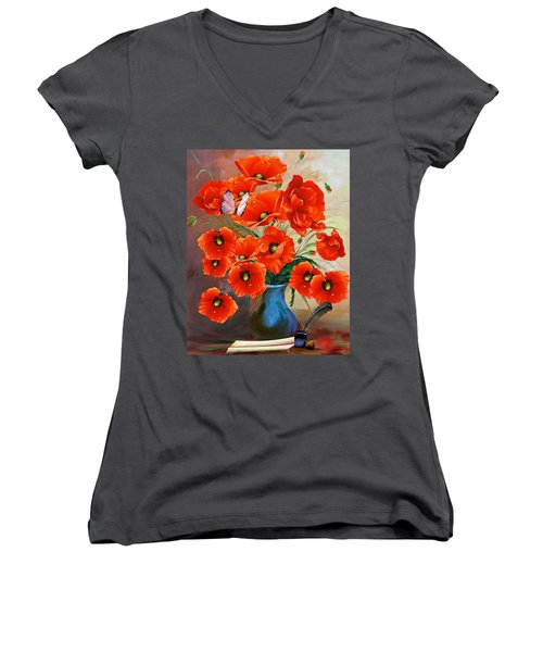 Still Life Poppies Women's V-Neck