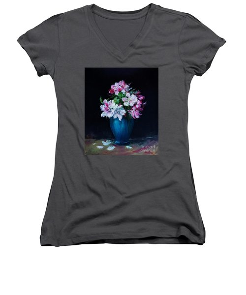 Still Life With Apple Tree Flowers In A Blue Vase Women's V-Neck (Athletic Fit)