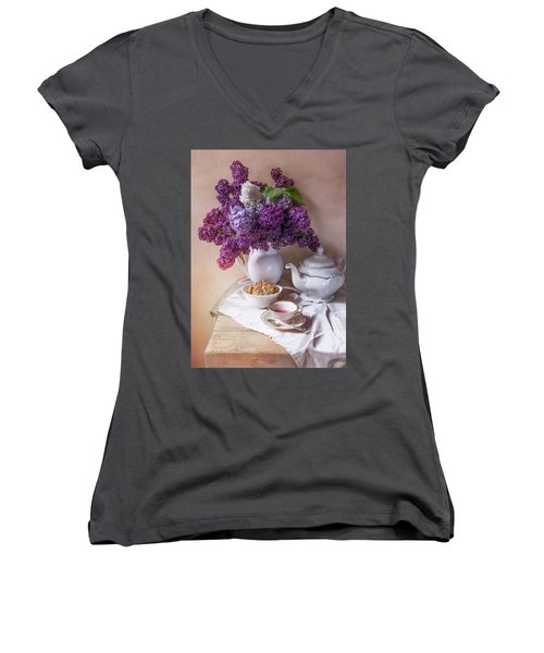 Women's V-Neck T-Shirt (Junior Cut) featuring the photograph Still Life With Fresh Lilac And China Pots by Jaroslaw Blaminsky