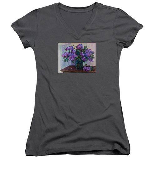 Still Life With Lilac  Women's V-Neck T-Shirt