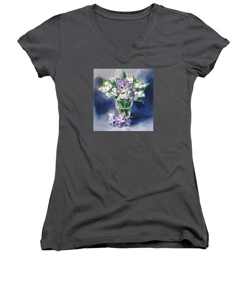 Still Life With Lilacs And Lilies Of The Valley Women's V-Neck T-Shirt (Junior Cut) by Sergey Lukashin