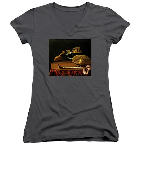 Still Life With Musical Instruments And Books Women's V-Neck (Athletic Fit)