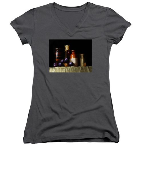 Still Life With Plums Women's V-Neck T-Shirt (Junior Cut) by Barry Williamson