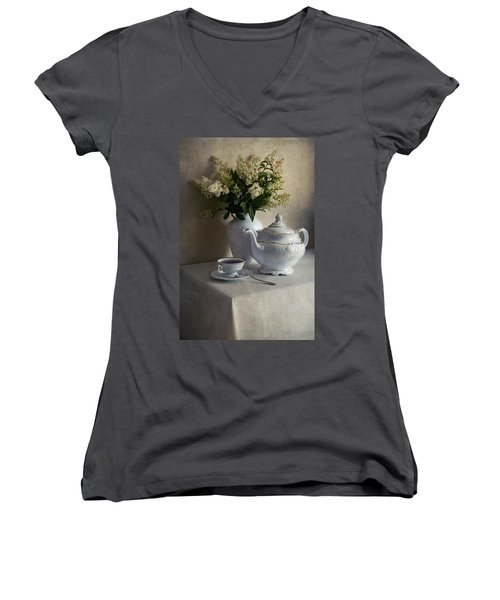 Still Life With White Tea Set And Bouquet Of White Flowers Women's V-Neck