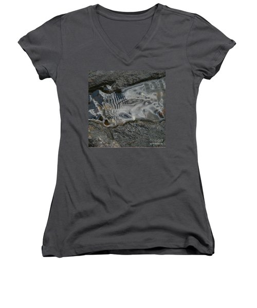 Still Stream Skeleton Screams Women's V-Neck T-Shirt (Junior Cut) by Carol Lynn Coronios