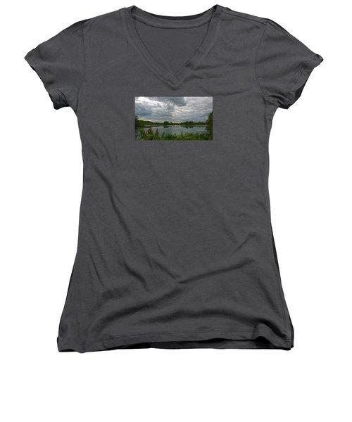 Still Waters Women's V-Neck T-Shirt (Junior Cut) by Anne Kotan