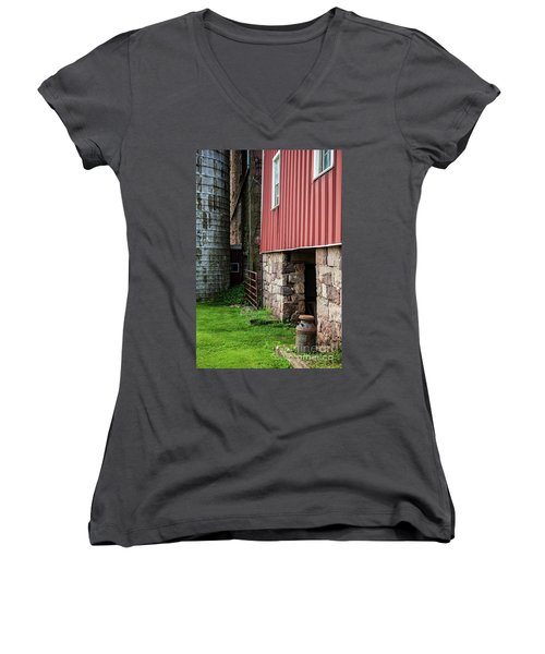 Stone Barn With Milk Can Women's V-Neck