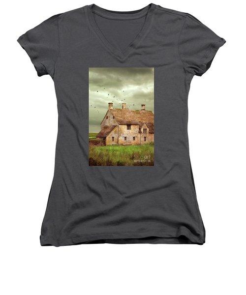 Stone Cottage And Stormy Sky Women's V-Neck T-Shirt (Junior Cut) by Jill Battaglia