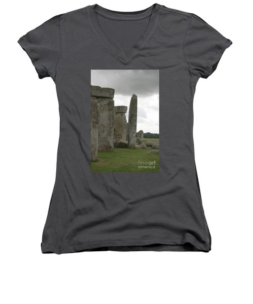 Women's V-Neck T-Shirt (Junior Cut) featuring the photograph Stonehenge Side Pillars by Mary Mikawoz