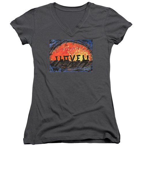 Stonehenge Sunrise Women's V-Neck T-Shirt