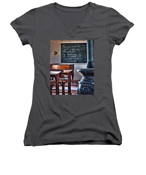 Stoney Point School Room Women's V-Neck T-Shirt (Junior Cut) by Lana Trussell