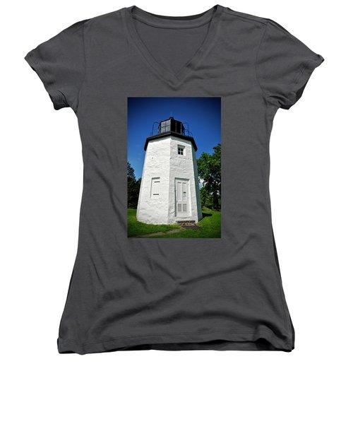 Stony Point Lighthouse Women's V-Neck (Athletic Fit)
