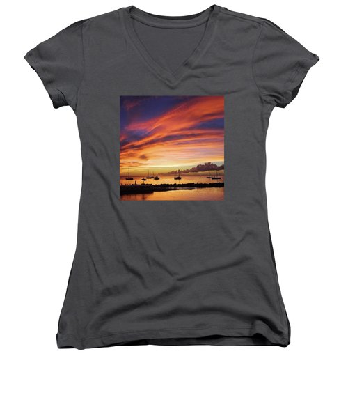 Store Bay, Tobago At Sunset #view Women's V-Neck T-Shirt (Junior Cut) by John Edwards