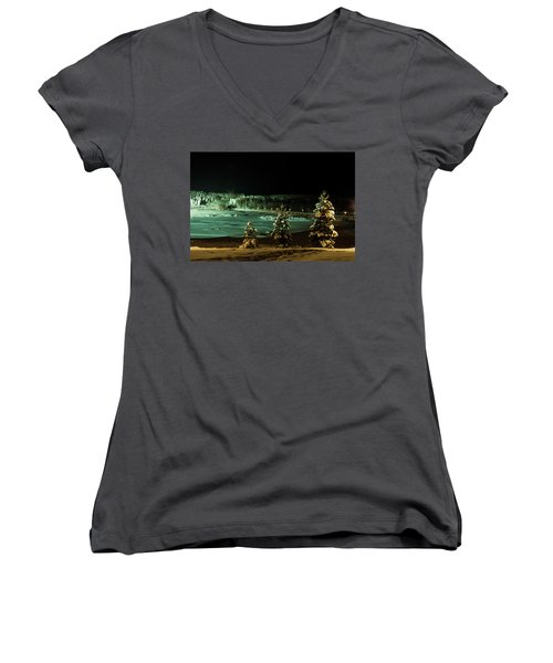 Storforsen In Night Women's V-Neck T-Shirt (Junior Cut) by Tamara Sushko