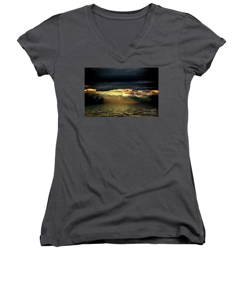 Storm 4 Women's V-Neck T-Shirt (Junior Cut) by Elaine Hunter