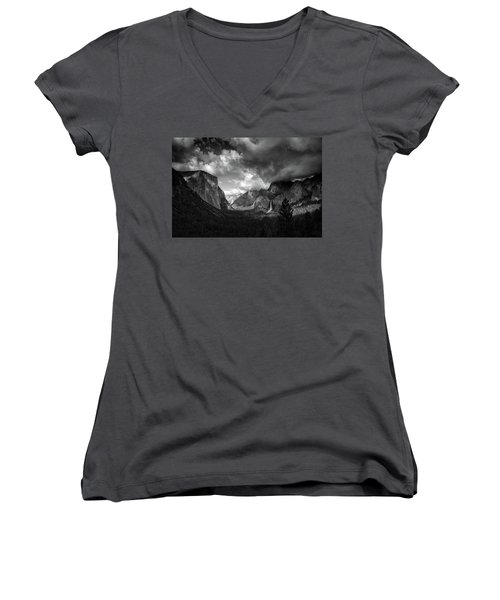 Storm Arrives In The Yosemite Valley Women's V-Neck
