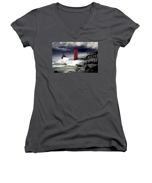 Storm At The Grand Haven Lighthouse Women's V-Neck T-Shirt