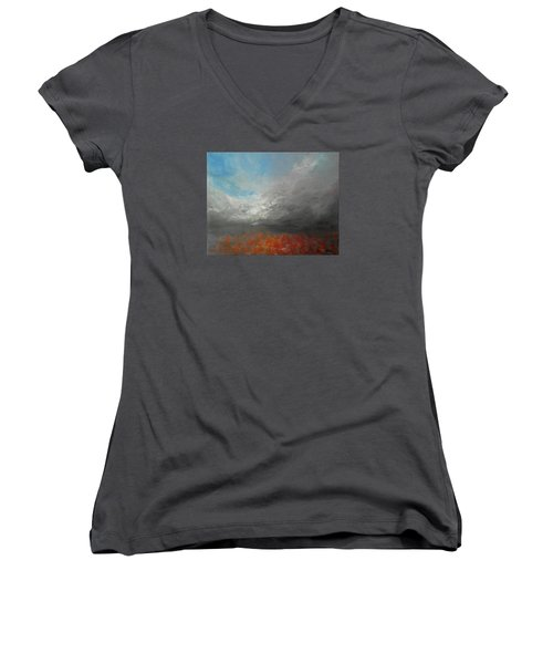 Women's V-Neck T-Shirt (Junior Cut) featuring the painting Storm Clouds by Jane See