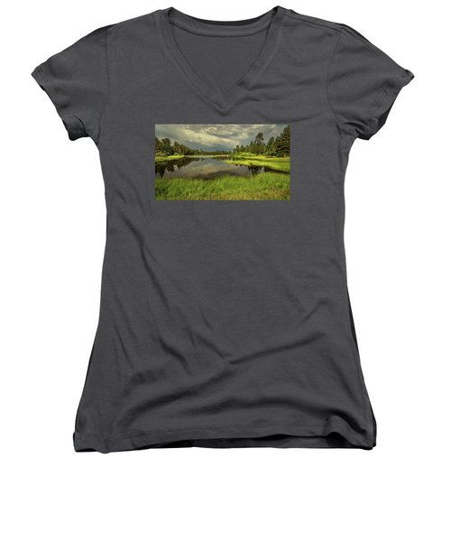 Storm Clouds Over Bluff Lake Women's V-Neck (Athletic Fit)
