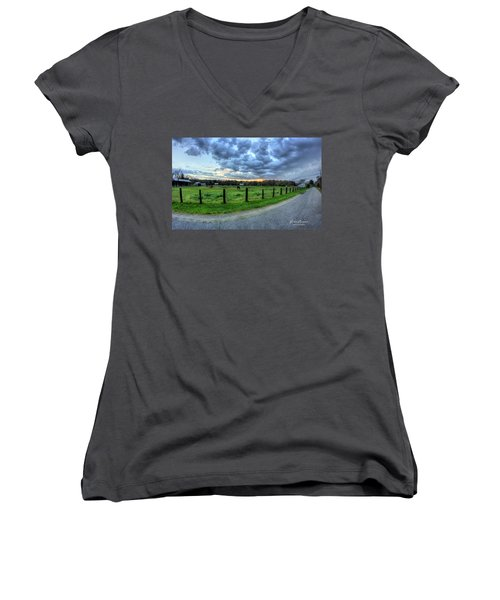 Storm Clouds Over Main Street Women's V-Neck (Athletic Fit)