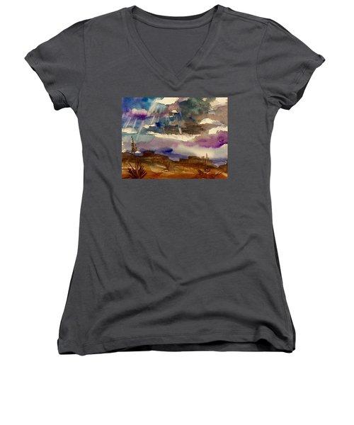 Storm Clouds Over The Desert Women's V-Neck T-Shirt (Junior Cut) by Ellen Levinson