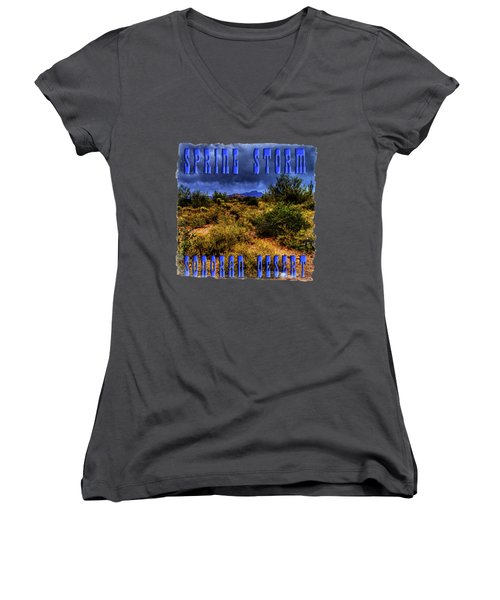 Storm Clouds Over The Sonoran Desert In Spring Women's V-Neck T-Shirt