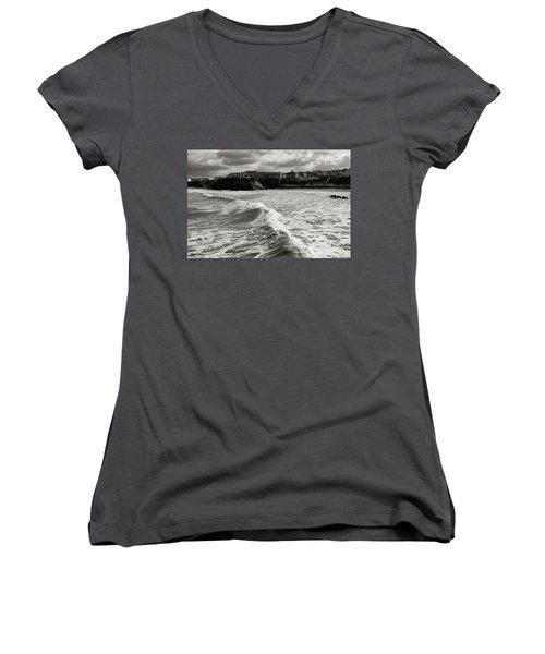 Storm Doris Women's V-Neck T-Shirt (Junior Cut) by Nicholas Burningham