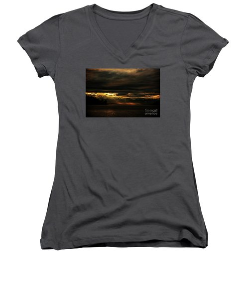Storm Women's V-Neck T-Shirt (Junior Cut) by Elaine Hunter