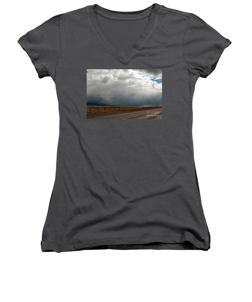 Storm On Route 287 N Of Ennis Mt Women's V-Neck T-Shirt (Junior Cut) by Cindy Murphy - NightVisions