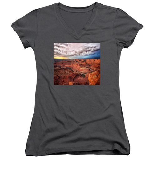 Storm Over Dead Horse Point Women's V-Neck (Athletic Fit)