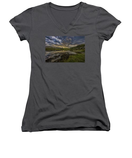 Storm Over Madison River Valley Women's V-Neck (Athletic Fit)