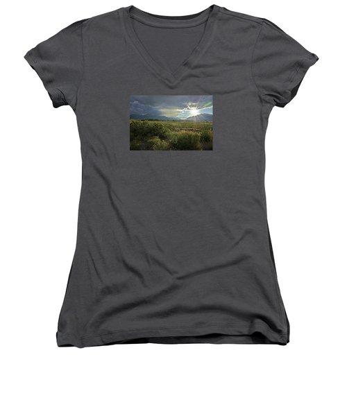 Storm Rays Women's V-Neck T-Shirt (Junior Cut) by Matt Helm