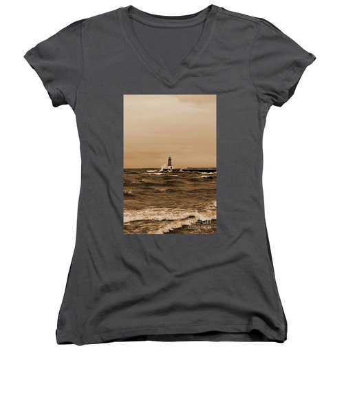 Storm Sandy Effects Menominee Lighthouse Sepia Women's V-Neck