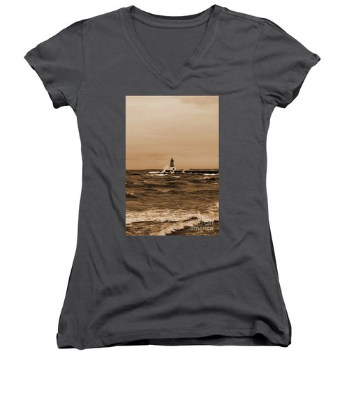 Storm Sandy Effects Menominee Lighthouse Sepia Women's V-Neck