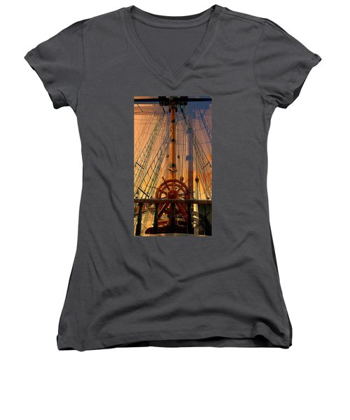 Women's V-Neck T-Shirt (Junior Cut) featuring the photograph Storm Ship Of Old by Lori Seaman