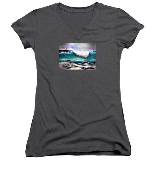 Storm Surf Moment Women's V-Neck T-Shirt