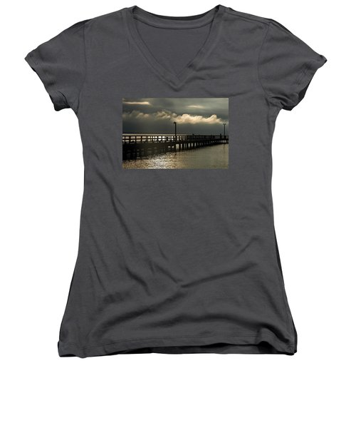 Storms Brewin' Women's V-Neck T-Shirt (Junior Cut) by Clayton Bruster