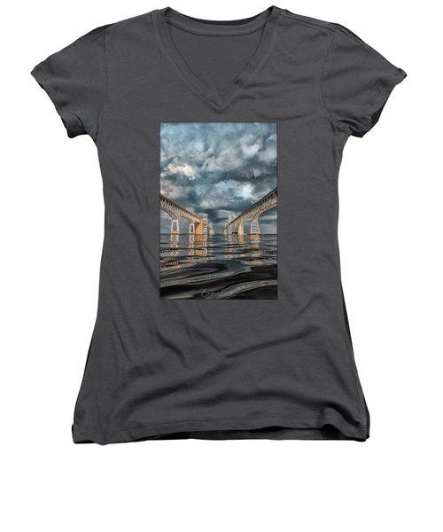 Stormy Chesapeake Bay Bridge Women's V-Neck T-Shirt