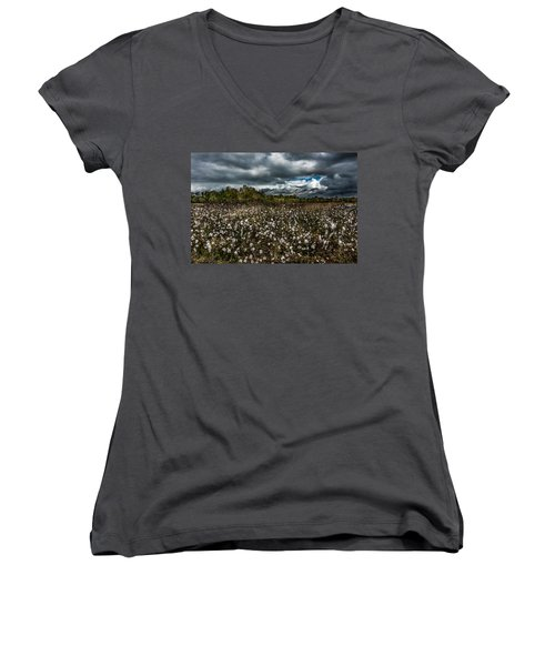 Stormy Cotton Field Women's V-Neck (Athletic Fit)