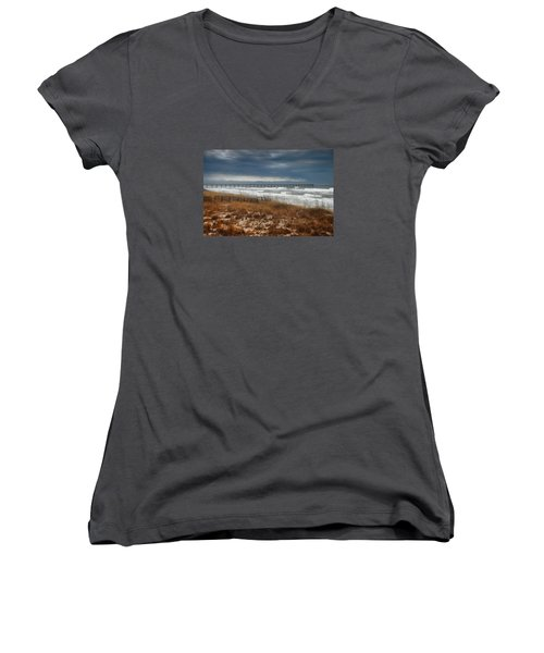 Women's V-Neck T-Shirt (Junior Cut) featuring the photograph Stormy Day At The Pier by Renee Hardison