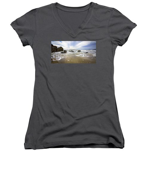 Stormy Maine Morning #1 Women's V-Neck (Athletic Fit)