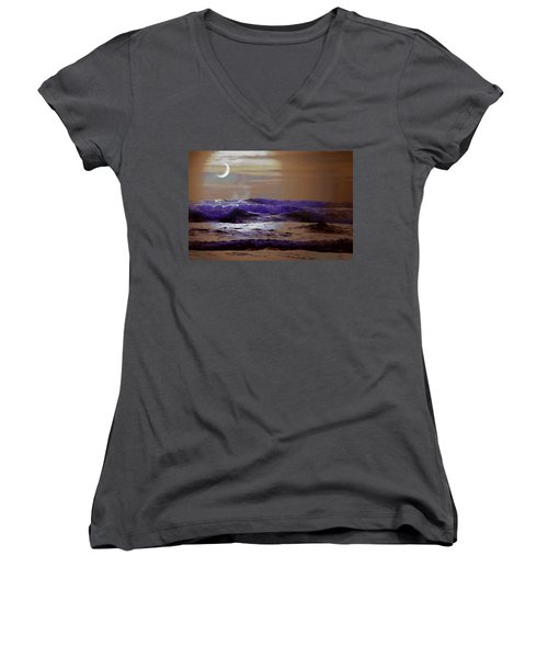 Sea Women's V-Neck T-Shirt (Junior Cut) featuring the photograph Stormy Night by Aaron Berg