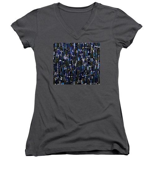 Stormy Night In The City Women's V-Neck